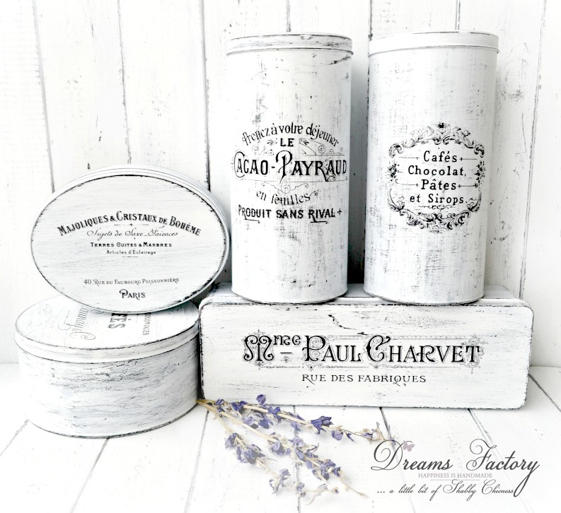 French Made tin boxes