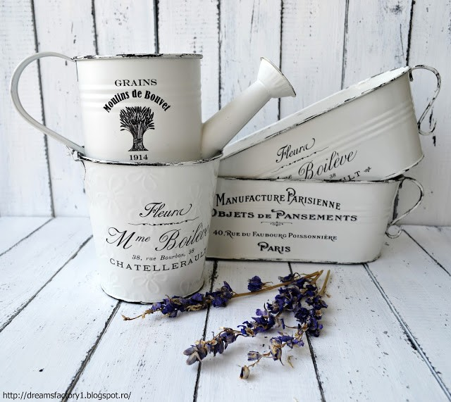 'French Made' Metal Flower Pots / Ghivece metalice pentru flori 'French Made'