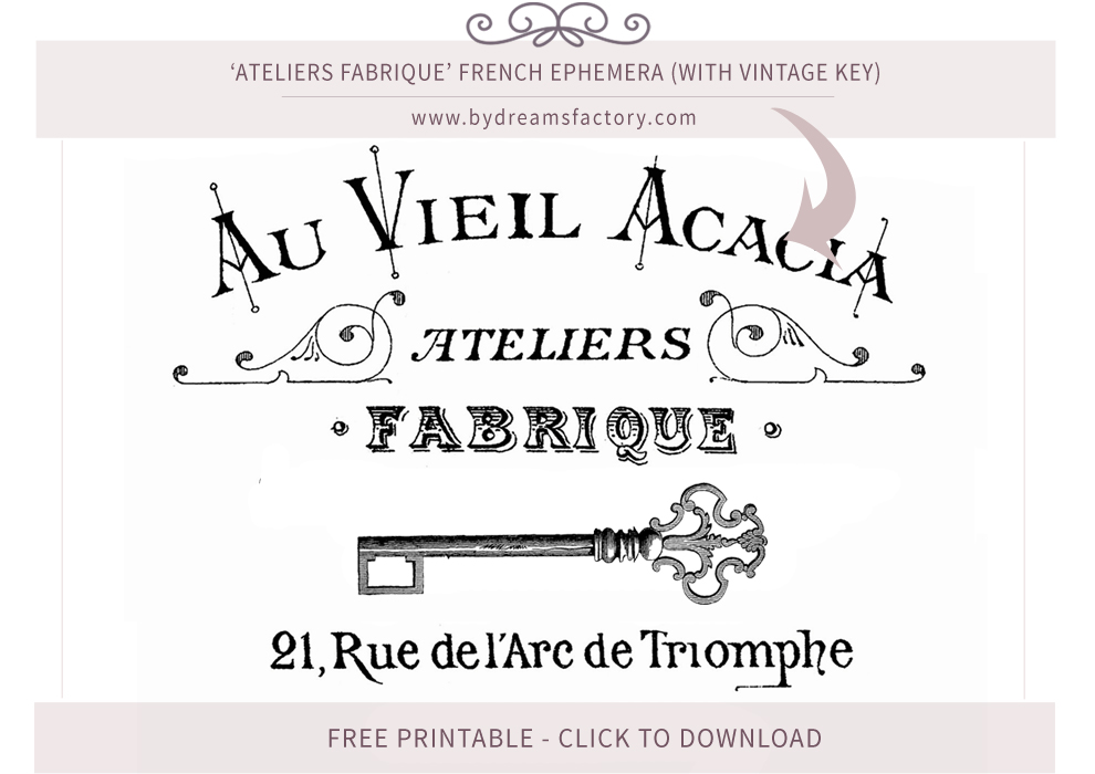 Ateliers Fabrique French ephemera (with vintage key) - French typography free download www.bydreamsfactory.com