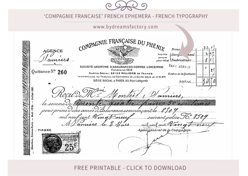 Compagnie Francaise French ephemera - French typography free download www.bydreamsfactory.com