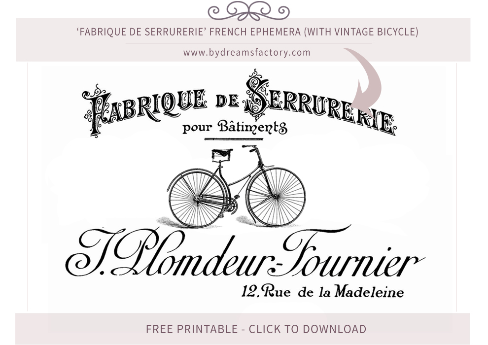 Fabrique de Serrurerie French ephemera (with vintage bicycle) - French typography free download www.bydreamsfactory.com