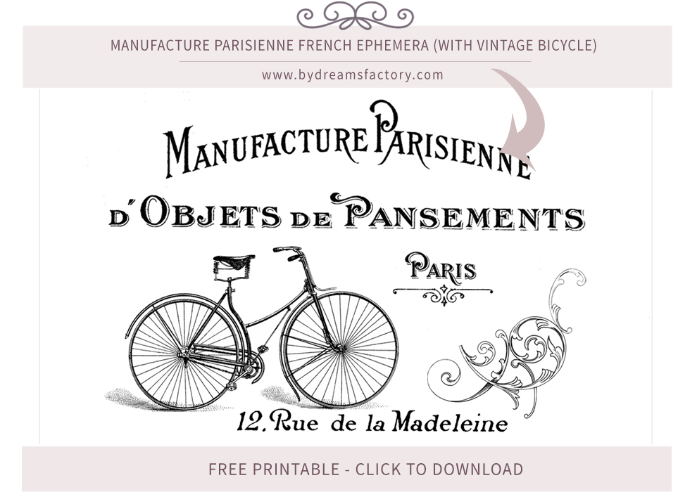 Manufacture Parisienne French ephemera (with vintage bicycle) - French typography free download www.bydreamsfactory.com