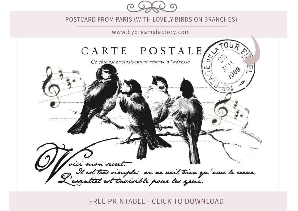 FREE DOWNLOAD Postcard from Paris (with lovely birds on branches) www.bydreamsfactory.com
