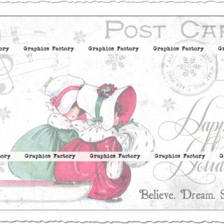 Vintage Digital Collage Sheets: Vintage Christmas Postcards
