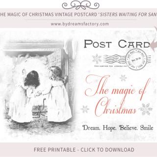Vintage Digital Collage Sheet Vintage Christmas Postcard ♦ The magic of Christmas Sisters Waiting for Santa – Free Download
