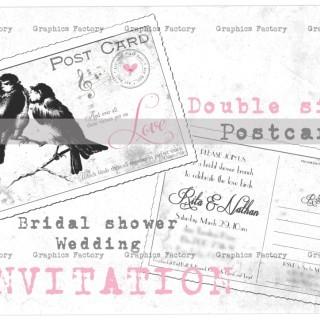 Custom Made – Vintage Digital Collage Sheet Bridal Shower Postcard Invitation Vintage Wedding Postcard Invitation Love birds