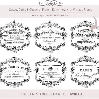 Cacao, Cafes & Chocolat French Ephemera with Vintage Frame – Free Download