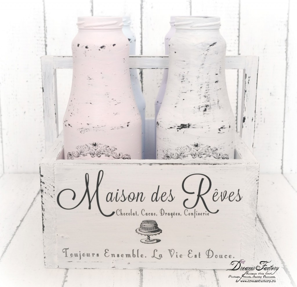 Shabby French Caddy & Painted Jars