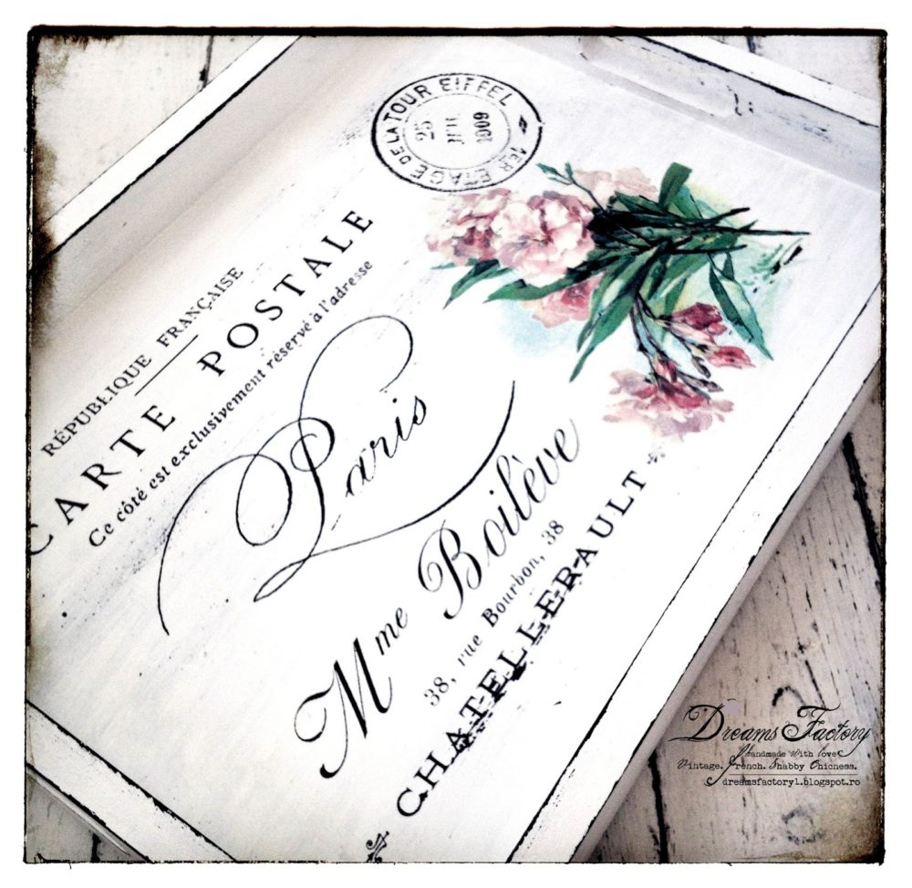 Vintage French Postcard from Paris (with spring flowers) - French tray