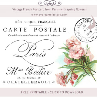 Vintage French Postcard from Paris (with spring flowers) – FREE DOWNLOAD
