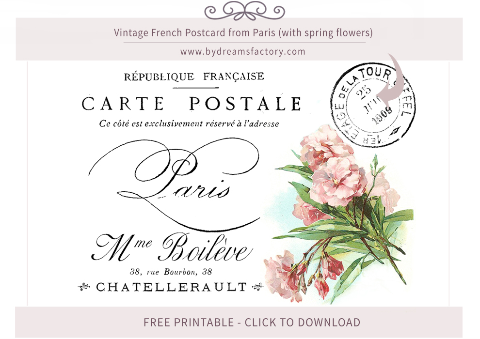 Vintage French Postcard from Paris (with spring flowers) - free download - www.bydreamsfactory