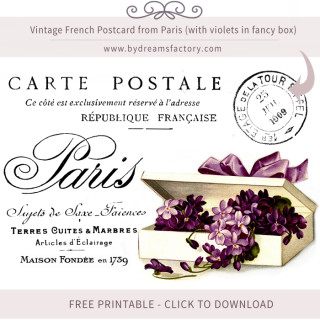 Vintage French Postcard from Paris (with violets in fancy box) – FREE DOWNLOAD