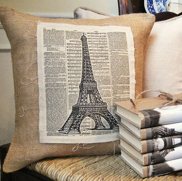 French Inspired Vintage Pillow (with Free Graphic) and Book Bundle