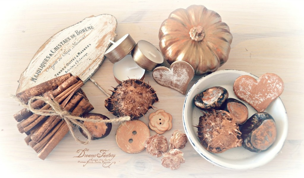 Fall French Vignette with Dark Gold and Copper Touches ♦ Aranjament de toamna frantuzesc, cu accente aurii si aramii
