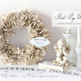 Book page wreath with French touches / Ghirlanda din pagini de carte, cu accente frantuzesti