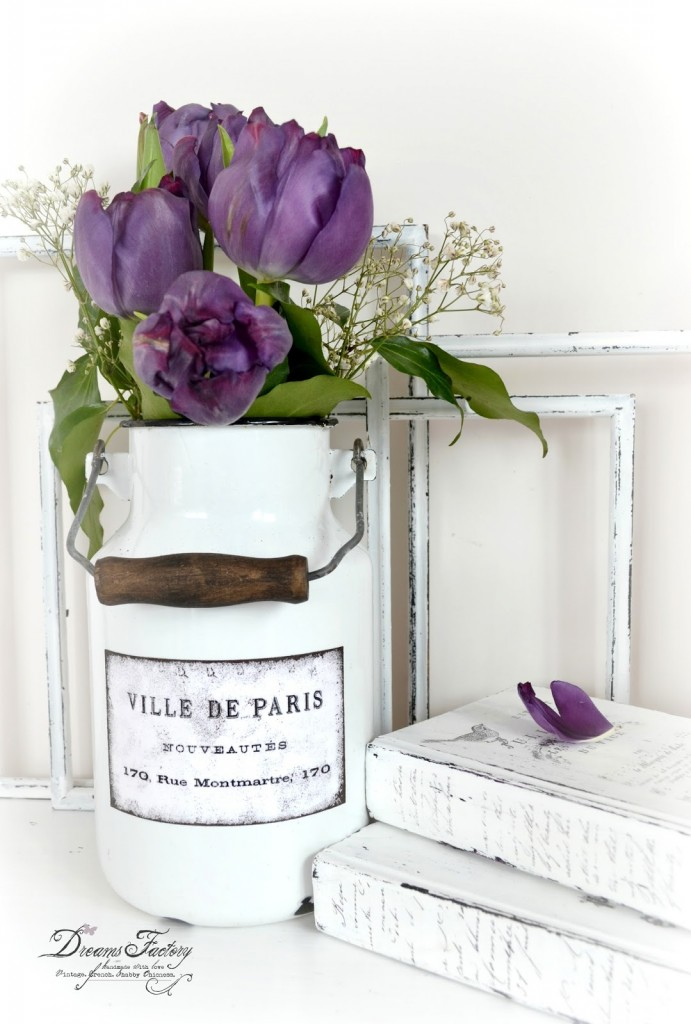 DIY: Vintage enamel milk jug with distressed and waterproofed French labels