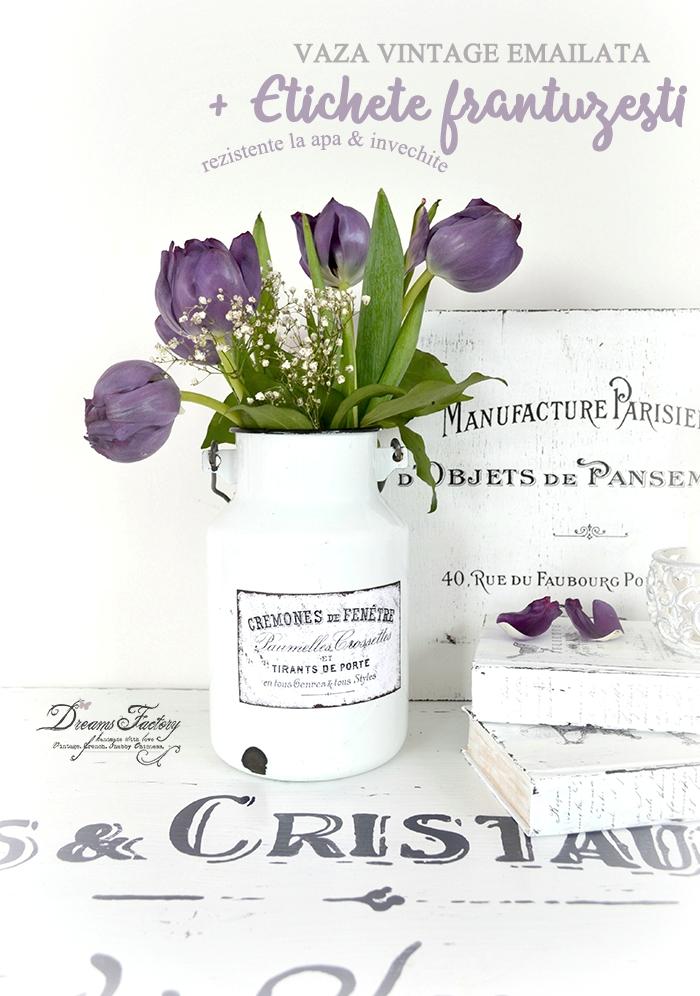 Dreams Factory: Adauga un strop de sarm casei tale cu o vaza vintage emailata, cu etichete frantuzesti invechite si rezistente la apa