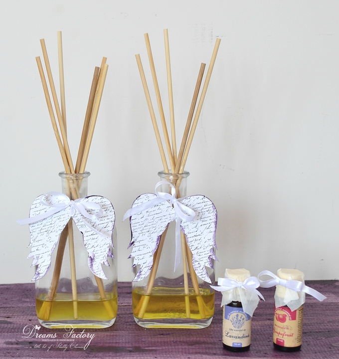 Learn how to make a DIY Essential Oils Reed Diffuser, decorate it with beautiful French script angel wings and use it all around your home for a fresh and natural scent - Dreams Factory