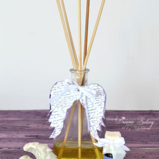 DIY Essential Oils Reed Diffuser with French Script Angel Wings
