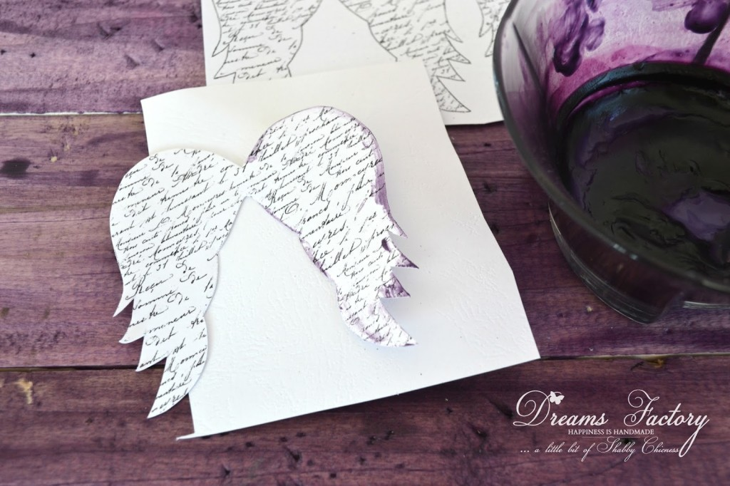 French Script Angel Wings Tags