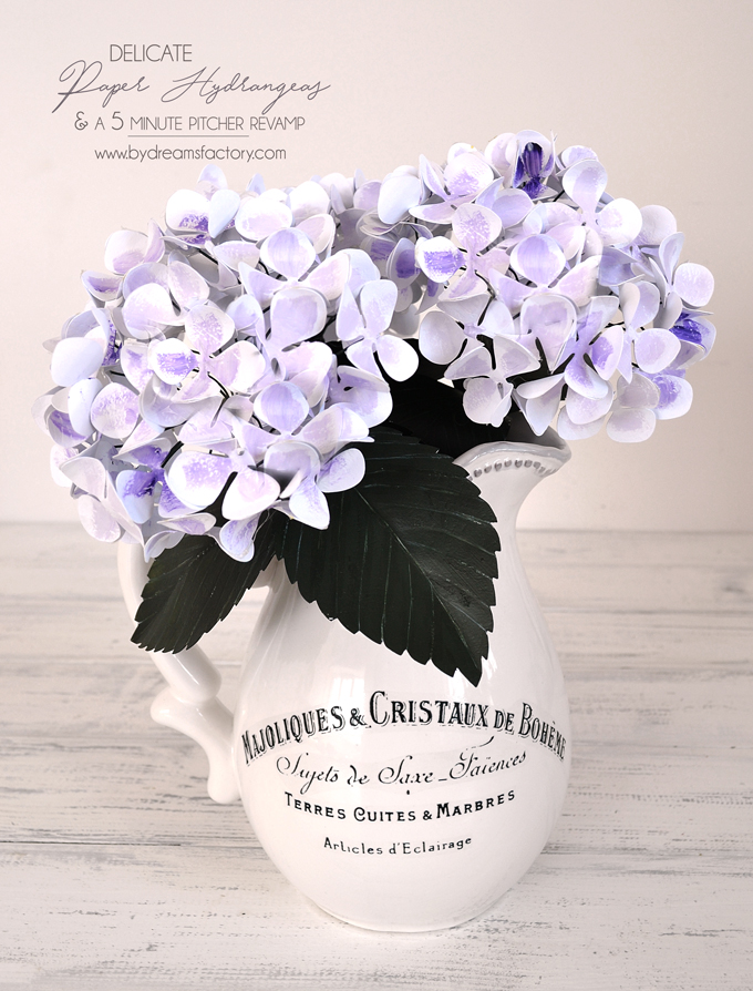 Make these delicate paper hydrangeas for your home and enjoy them all year long and learn how to French revamp any pitcher in just 5 minutes - by Dreams Factory