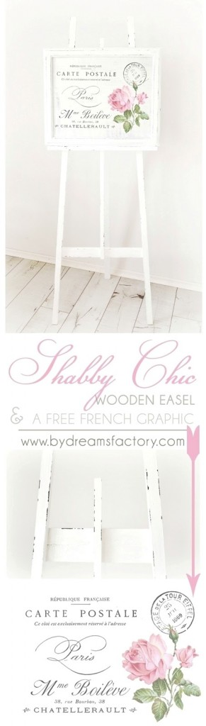Learn how to easily make your own Shabby Chic wooden easel from scratch - paint it with two contrasting colors to create a Shabby Chic effect