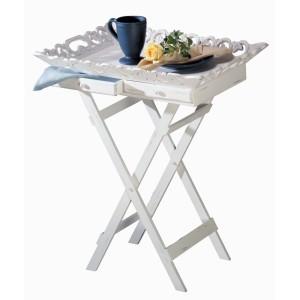 Elegant Shabby White Breakfast Tray Stand