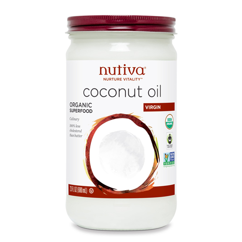 Nutiva Organic Extra-Virgin Coconut Oil has light taste, pleasant aroma, and pure white color. Please note that any tiny brown spe cks found at the bottom of Nutiva's Coconut Oil are from the coconut fiber and are indigenous to.