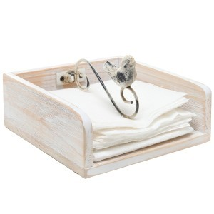 Rustic Shabby Chic White Washed Wood Napkin Holder Rack