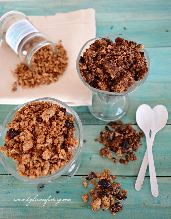The perfect homemade granola - vanilla for her & chocolate for him - with oats, coconut oil, honey, seeds | www.bydreamsfactory.com