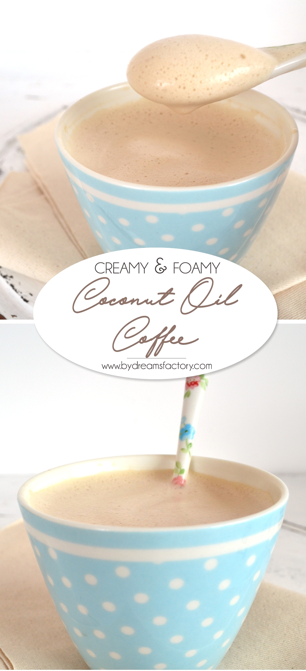 Creamy and foamy coconut oil coffee