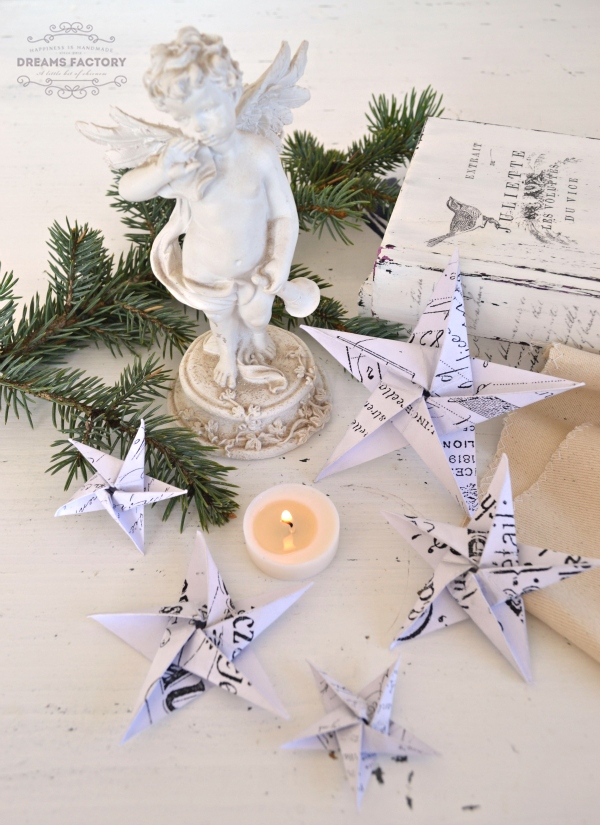 French Paper Stars (with 17 different downloadable designs), that you can turn into beautiful ornaments, banners, home decor for Christmas - by Dreams Factory