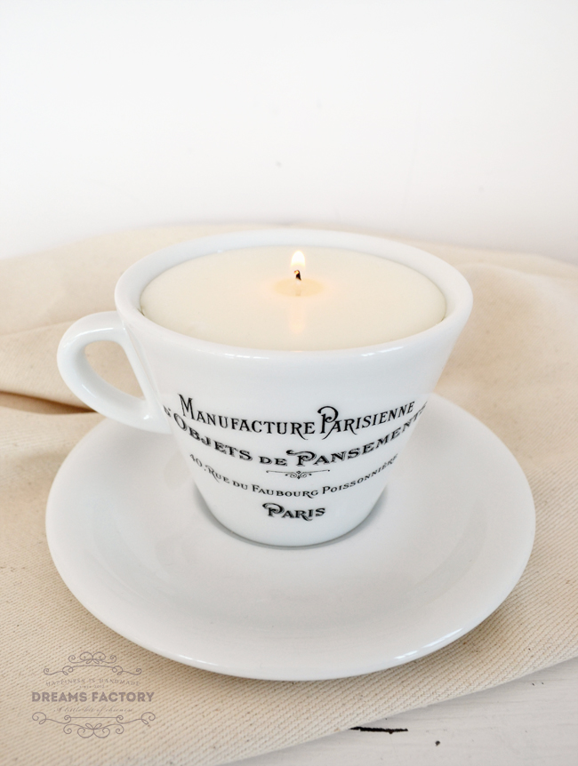 Learn how to make a scented soy candle in a French coffee cup | Dreams Factory