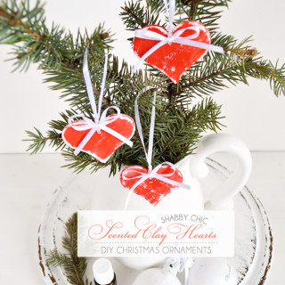 Shabby Chic Scented Clay Hearts {DIY Christmas Ornaments}
