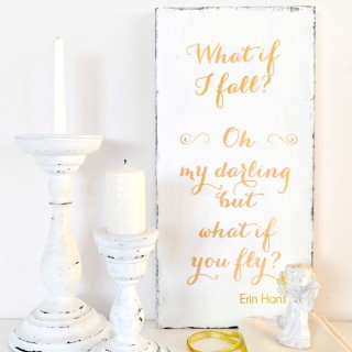DIY Shabby Gold Inspirational Wood Sign