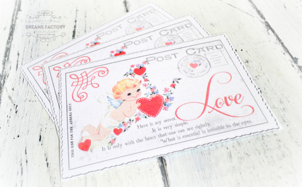 Free Printable | Vintage Valentine Postcard: The Little Cupid (with a quote from ''The Little Prince'')|