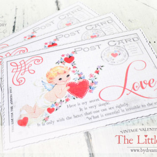 "A vintage Valentine postcard and the essential from ""The Little Prince"""