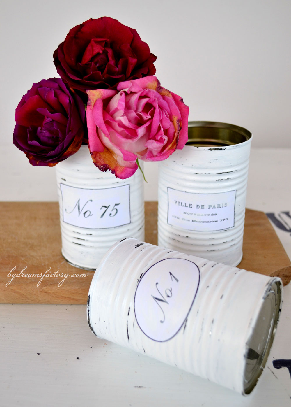 Learn how to make some amazing Shabby French recycled tin cans that you use all around your home. Get organized in a classy way! - Dreams Factory