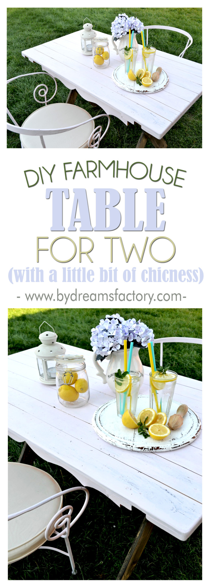 DIY farmhouse table for two - learn how to make a X leg farmhouse table from scratch, how to paint it and distress it, but also add a little bit of chicness to make it special (and even use old pallets wood in the process) - Dreams Factory