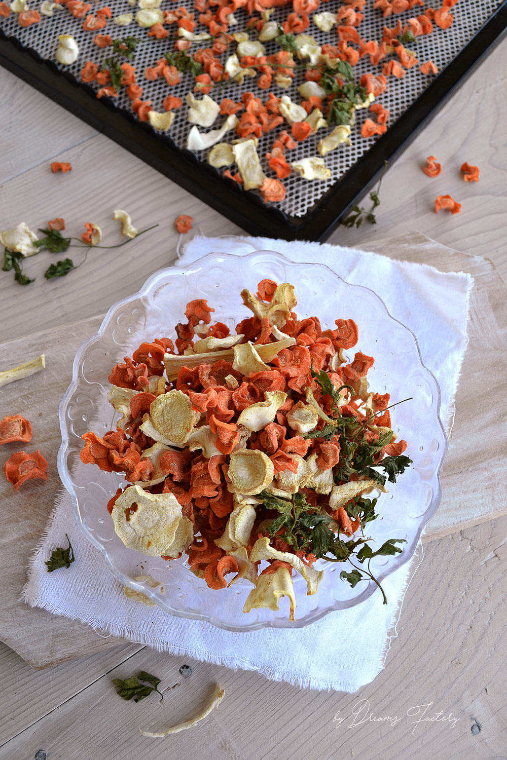 Using a dehydrator Froothie Optimum P200 dehydrator product review - dehydrating veggies www.bydreamsfactory.com