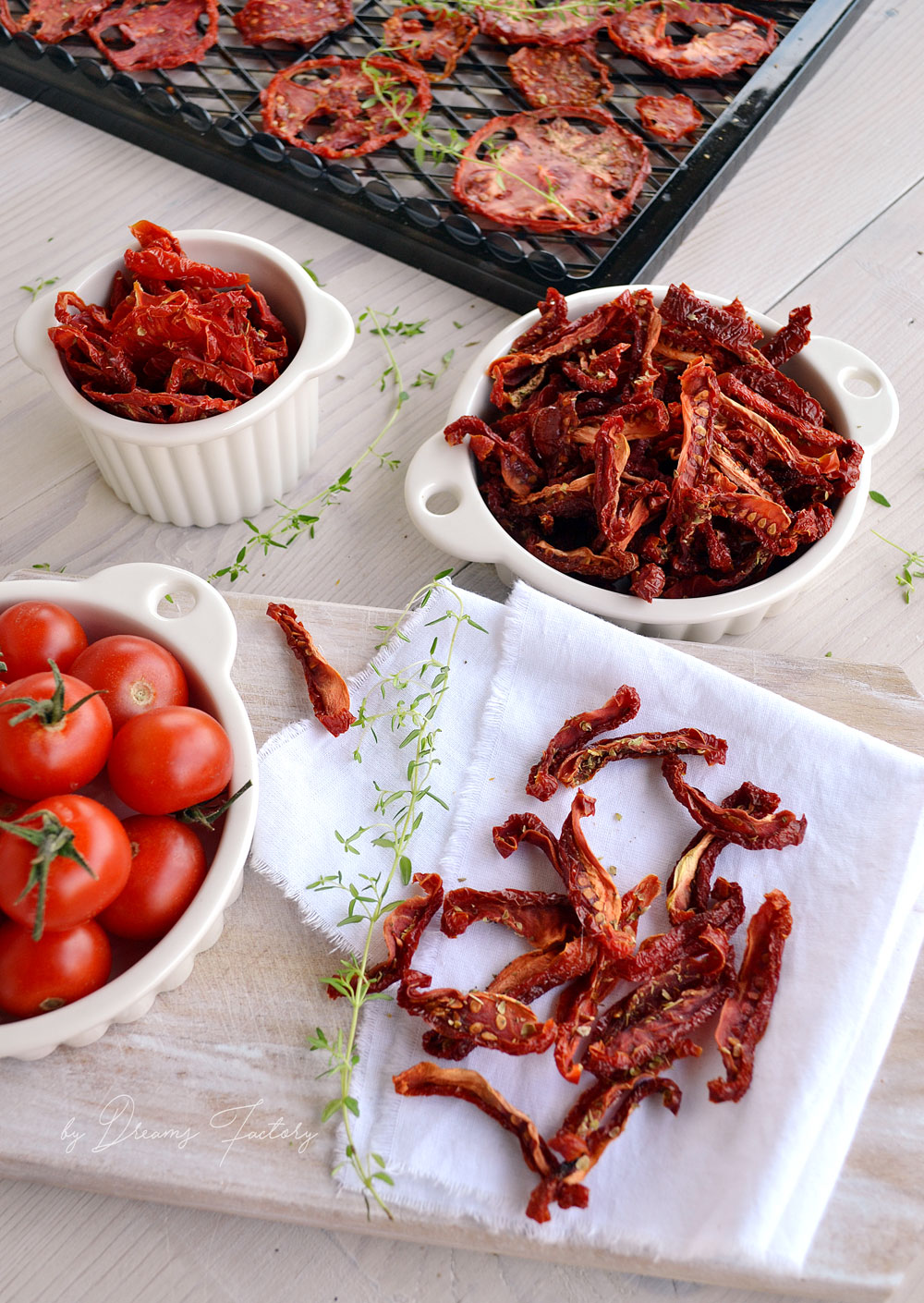 Using a dehydrator Froothie Optimum P200 dehydrator product review - dehydrating sun-dried tomatoes www.bydreamsfactory.com