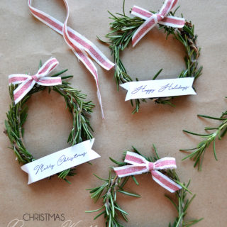 Christmas rosemary wreaths + free ribbon banners