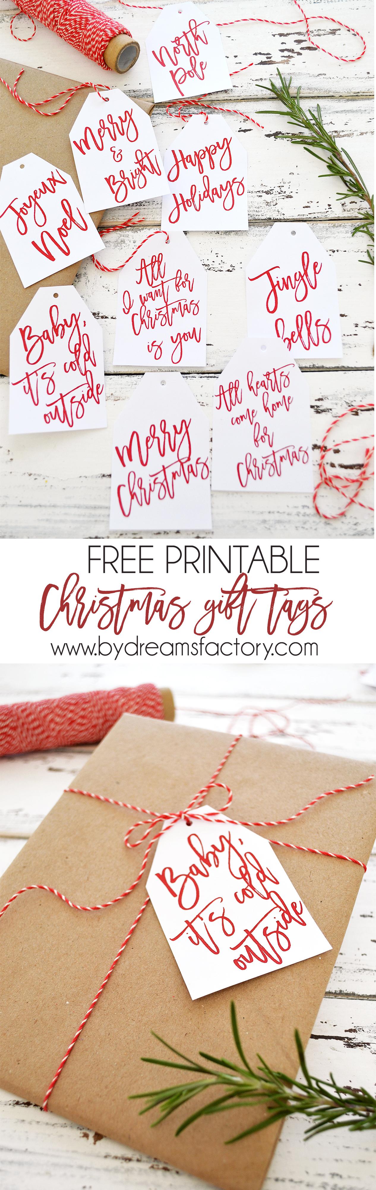 Printable christmas present gift tags
