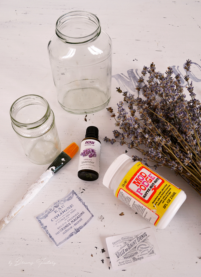 Learn how to make a unique essential oils diffuser using dried lavender and chic French jars, for a fresh and naturally scented home - Dreams Factory