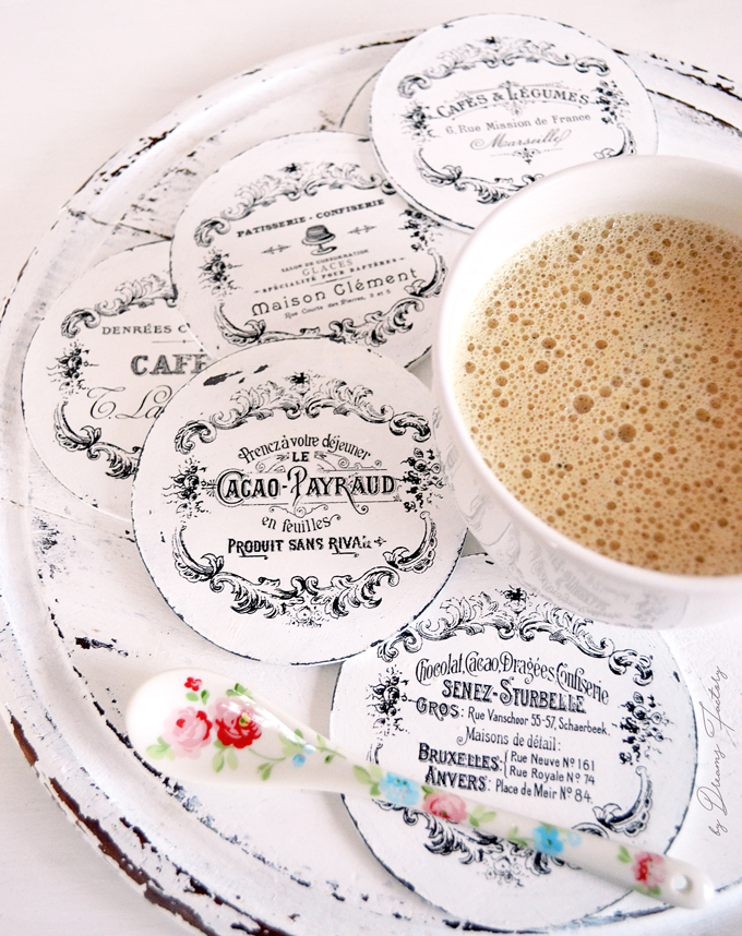 DIY Round French Coasters - make some chic French coasters for your chic mornings - by Dreams Factory