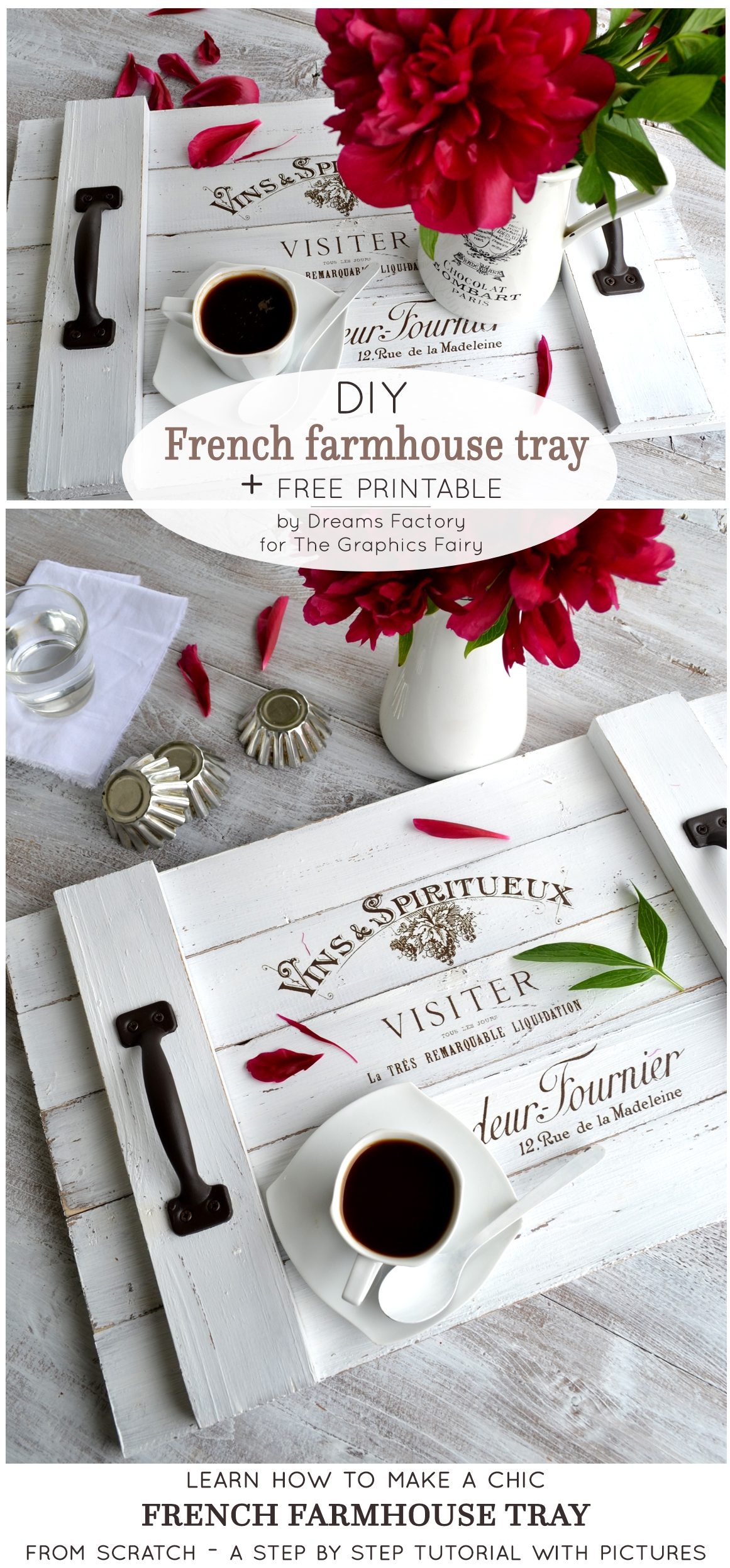Learn how to make a shiplap inspired DIY French farmhouse tray from scratch, that you can use all over your home both for its aesthetics but also for its great functionality - by Dreams Factory