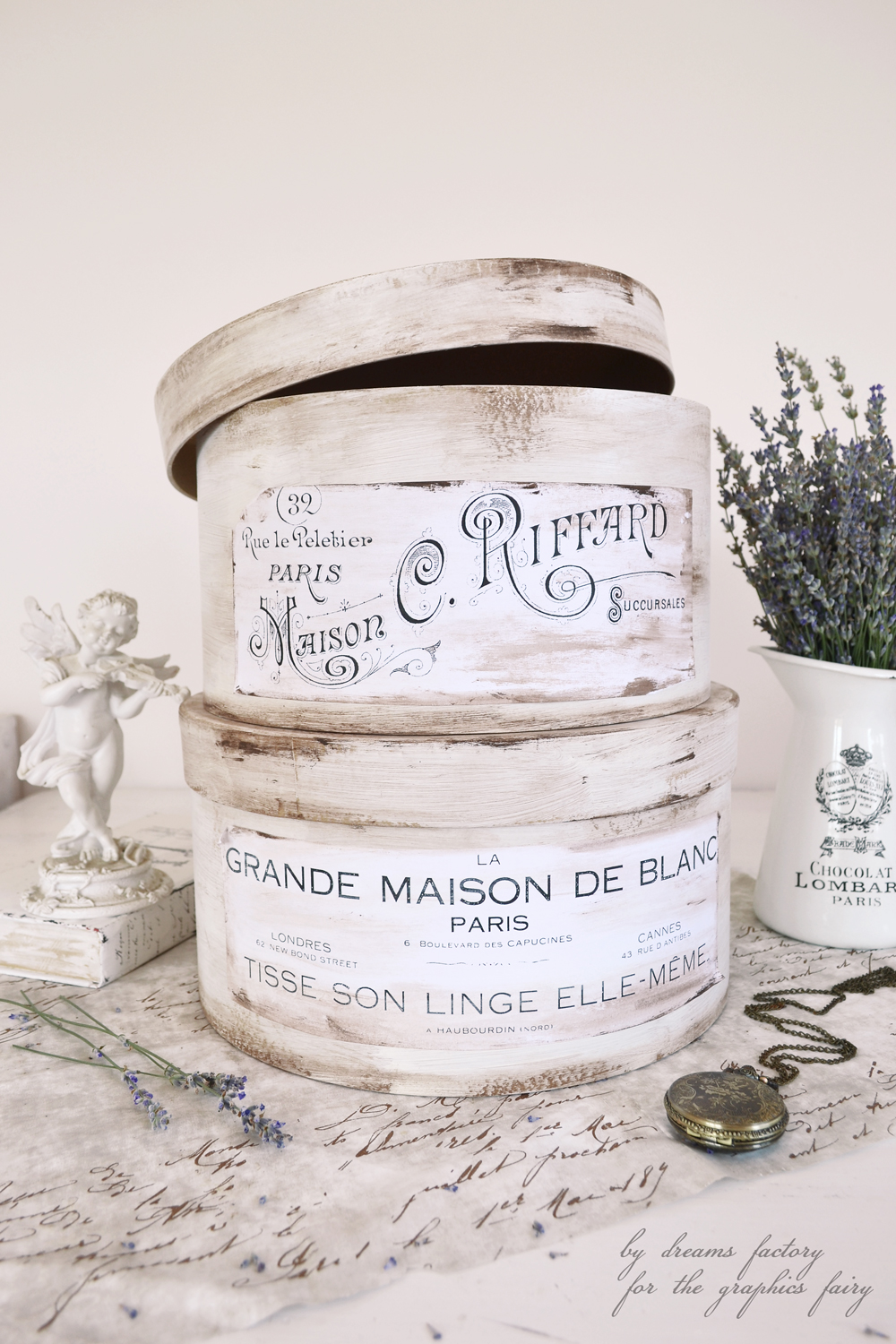 Antique French hat boxes