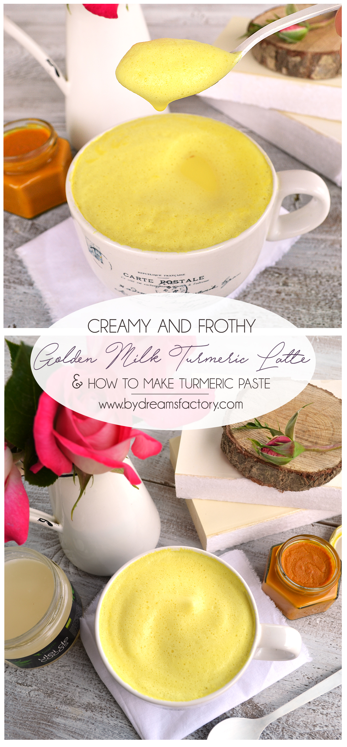 Try this creamy and frothy golden milk turmeric latte (from turmeric paste), a comforting drink with anti inflammatory healing properties & an amazing taste @bydreamsfactory