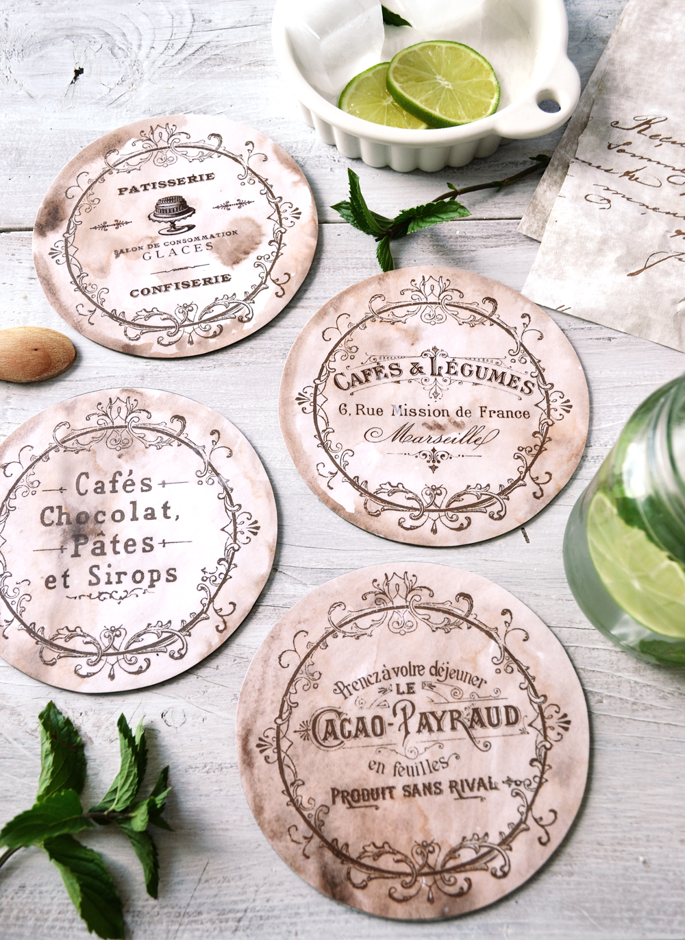 Don't throw your old CDs anymore and recycle them into some beautiful DIY Vintage French CD Coasters, perfect for summer entertaining or gifting