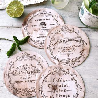 DIY Vintage French CD Coasters